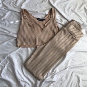 Nude Ribbed Leggings Set from PLT